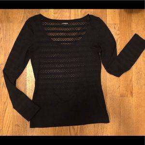 Express black Scoop neck long sleeve shirt medium